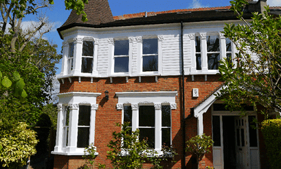 Front of a house with Sash Windows