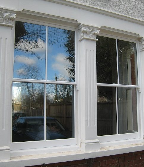 Close up image of a sash window.