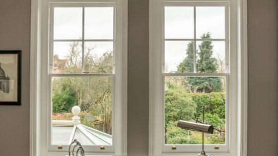 Double sash windows looking out into a garden